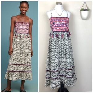 •RAGA• Anthro Tesoro Embroidered Midi Dress